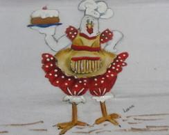 galinha cozinheira,pano de prato