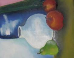 Potes e frutas,pintura a oleo.