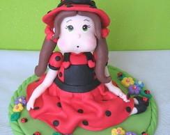 Topo de bolo infantil menina joaninha