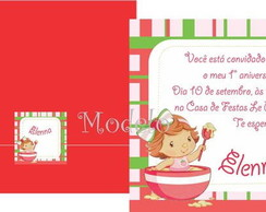 Convite Moranguinho Baby Bacia