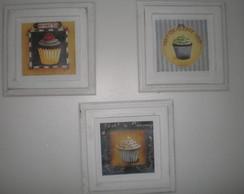 Conjunto de quadros proven�ais cupcakes