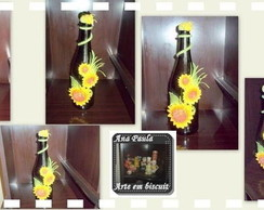 Garrafa decorada com girass�is