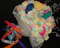 Buqu� de marshmallows multicolorido