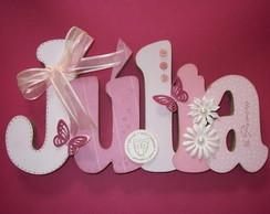 Nome em MDF e scrap Julia rosa