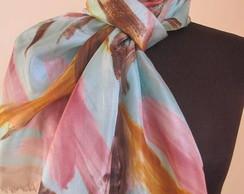 Echarpe de seda pura Caribe-pint. a m�o