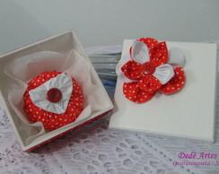 Conjunto caixa e sach� flor de fuxico
