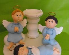 Enfeite de bolo para Batizado Azul