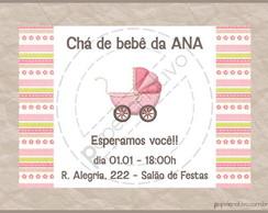 Mini Convite Ch� de beb� - carrinho rosa