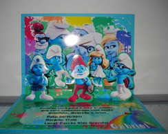 Convite Pop-up Smurfs.