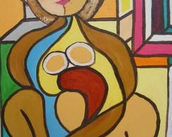 Pintura sobre tela:Mulher pensando