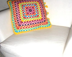 Capa para almofada Color em Crochet