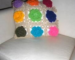 Capa para almofada em Crochet Two side