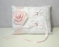 Porta Alian�as Branco com Rosa Rosa