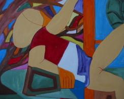 Pintura sobre tela:Mulher sentada