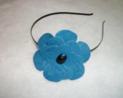 Tiara flor de couro ou courino