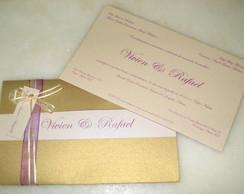 Convite Cl�ssico Ouro & Roxo