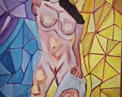 Pintura s/tela:Mulher tomando sol