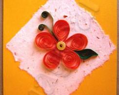 Cart�o Flor Laranja em Quilling