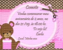 Convite urso marrom e rosa 2