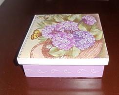 caixa em mdf Cesta de hortensias
