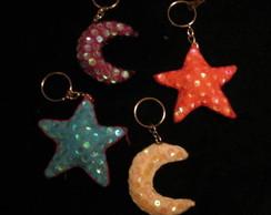 Chaveiro Lua ou Estrela com brilho