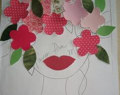 Aplique Cabeca de flores cor de rosa