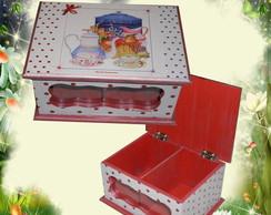 Caixa de ch� dupla bolinhas