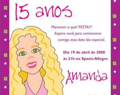 Convite 15 anos com desenho