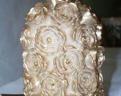 Vela Cil�ndrica Flor com strass