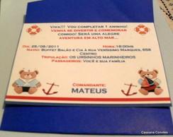 Convite Ursinho Marinheiro com envelope