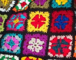 parte da colcha de crochet