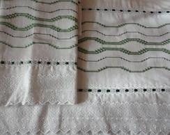 jogo de len�ol bordado em vagonite