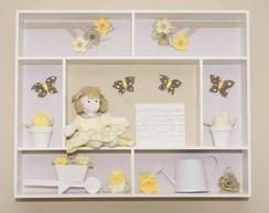 Quadro de boneca com flores