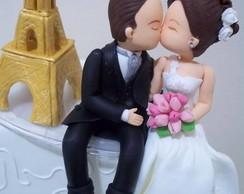 Topo de bolo para casamento, torre eifel