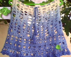 Saia Crochet azul degradee