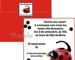 Convite Ch� de Panela Chaleira Joaninha