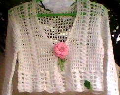 Bolero crochet linha branco