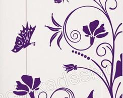 adesivo geladeira floral +borboletas g82