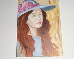 Pintura a oleo Dama de Chap�u