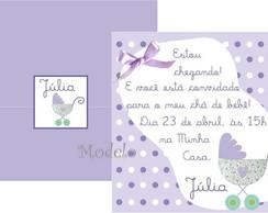 Convite Ch� de beb� Carrinho lil�s
