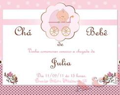 Convite Ch� de Beb� - Marrom e Rosa