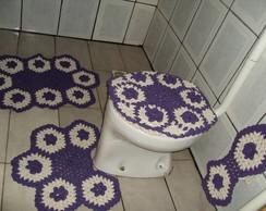 jogo banheiro floral roxo com cru