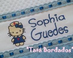 Toalha Infantil Hello Kitty -Branco/Azul