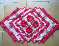 tapete em croch� com flores !
