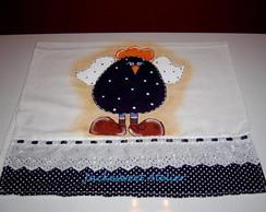 Pano de prato pintado e bordado