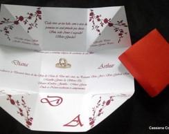 Convite de Casamento Floral Vermelho