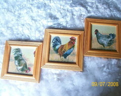 Trio quadros - galinhas