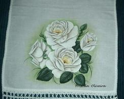 Pano de prato rosas brancas