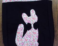 Bolsa em tecido tema gato