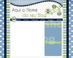 Template Flowers Blue